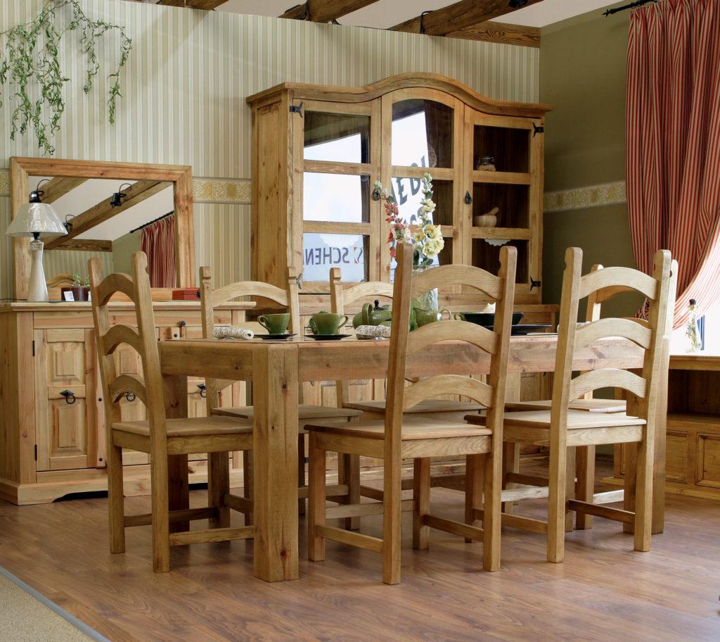 Aranżacja rustykalnego salonu z jadalnią