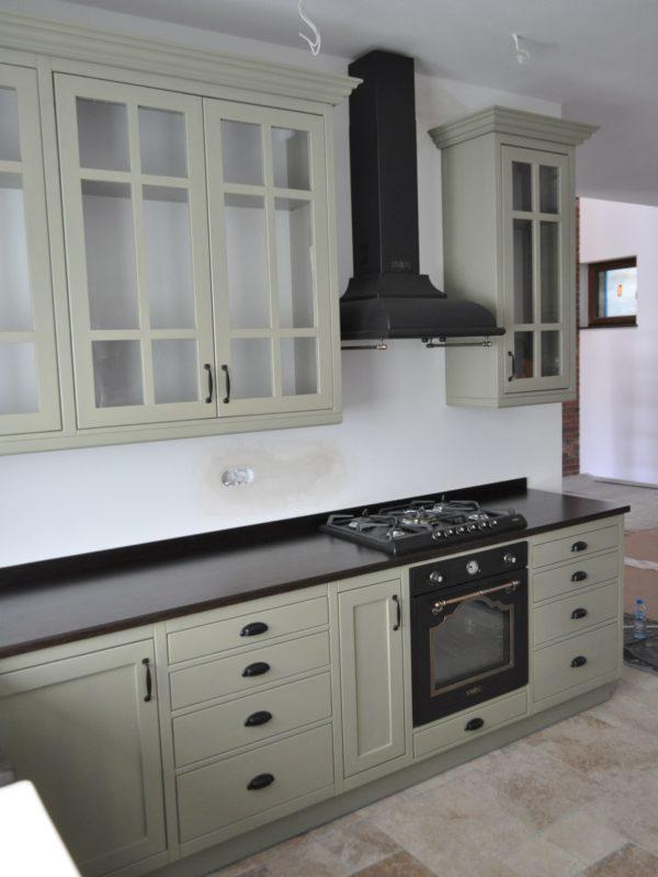 Kuchnia drewniana oliwkowa prowansalska