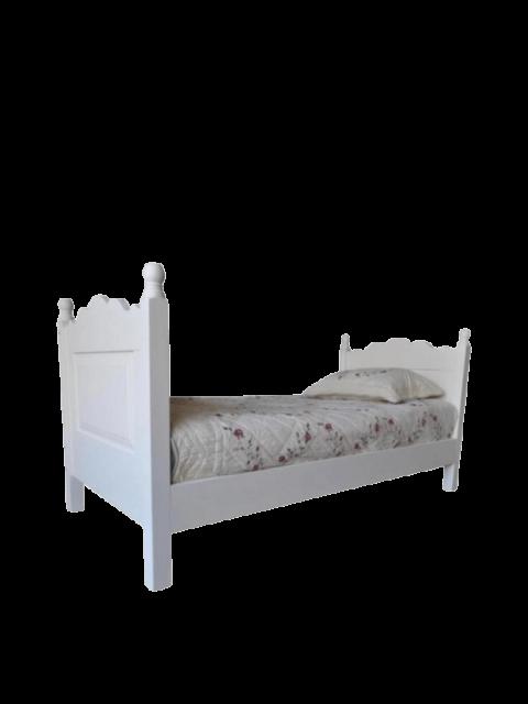 Solidne masywne łóżko białe drewniane 90