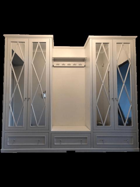 Garderoba stylowa biała z frontami lustra